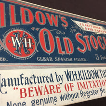 Load image into Gallery viewer, Old Vintage, Kildow's Old Stock CIGAR SIGN - TheBoxSF