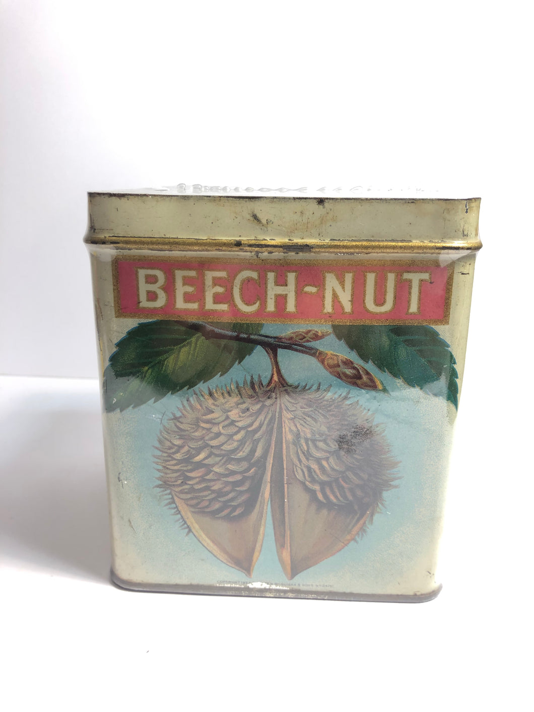 Monarch Beech-Nut tobacco tin from the front