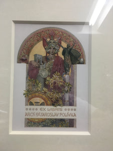 Old MUCHA Lithograph, Ex Libris, Arch. Dr Jaroslav Polivka, Archivelry Framed - TheBoxSF