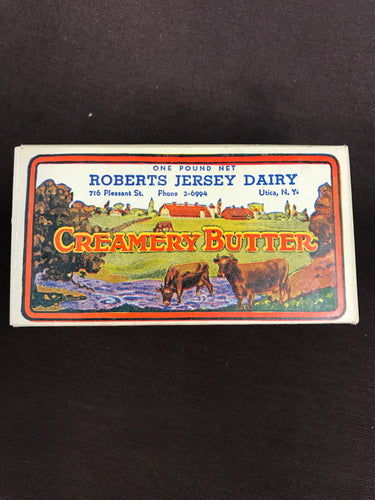 Vintage Roberts Jersey Dairy Creamery Butter Cardboard Packaging