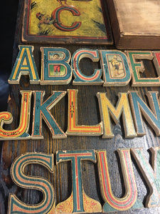 RARE Full ALPHABET, Cut Out ABC Game, Whitney Reed Chair Co. Old Vintage - TheBoxSF