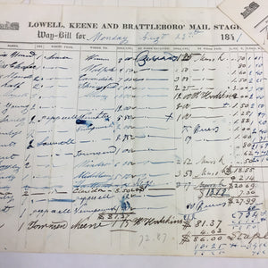 5 Lowell, Keene & Brattleboro Mail Stage Receipt, Bill