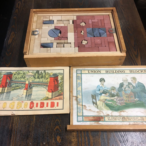 Union Building Blocks, Adult and Children Game, Block House, Old Vintage
