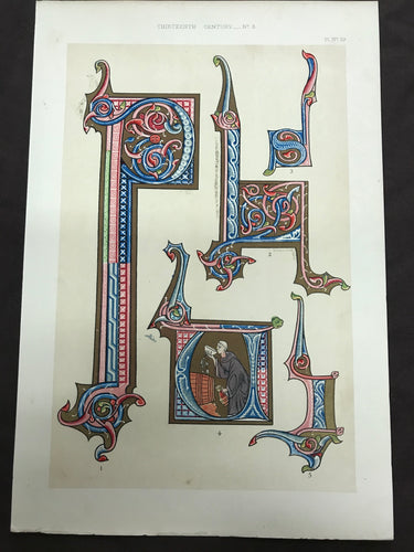 Beautiful Chromolithograph Book Plate Illuminated Letters About 125 Years Old Plate Number 39