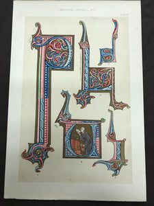 Bookplate featuring illuminated letters