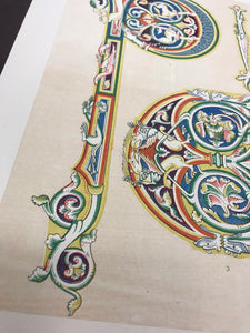 Beautiful Chromolithograph Book Plate Illuminated Letters About 100 Years Old - Plate Number 32