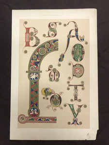 Beautiful Chromolithograph Book Plate Illuminated Letters About 150 Years Old - Plate Number 4
