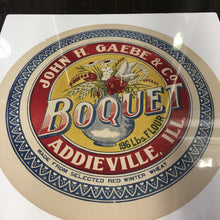Load image into Gallery viewer, Old Vintage, BOQUET FLOUR Barrel Label, John H. Gaebe & Co., Addieville - TheBoxSF