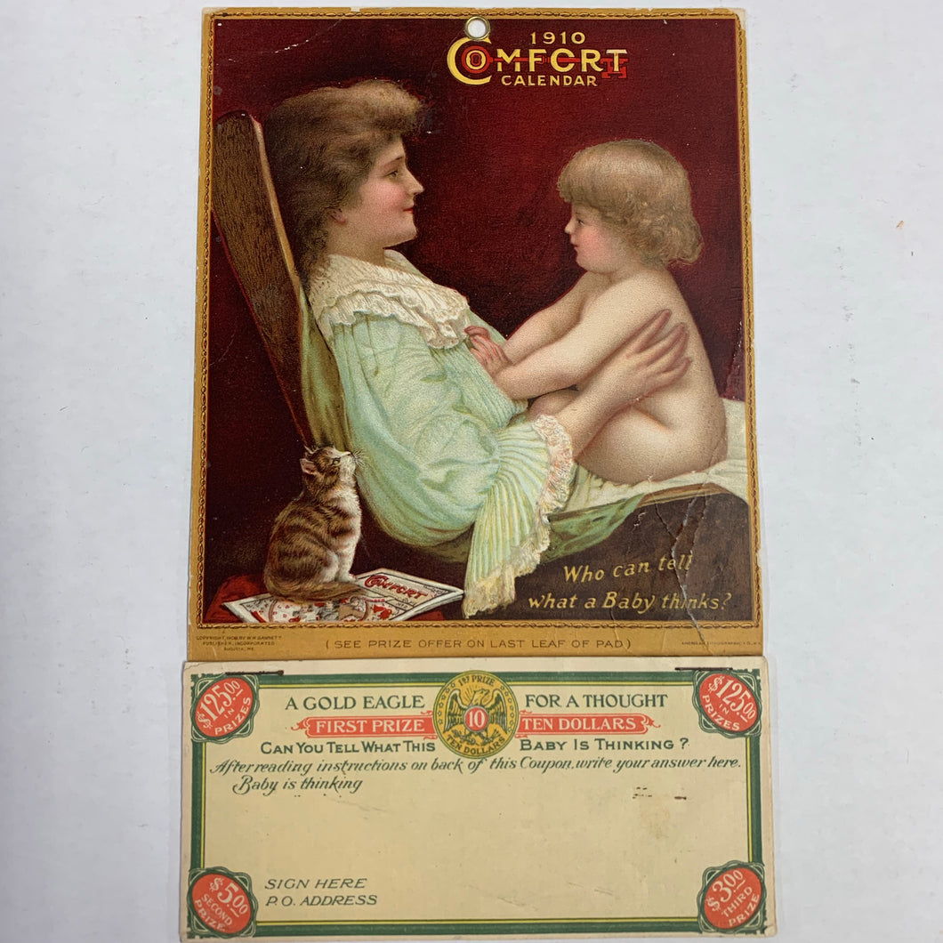 Old 1910 COMFORT CALENDAR, Gold Eagle, Baby Thinking