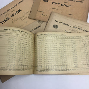 Inside Pittsburgh and Lake Erie Railroad time sheets
