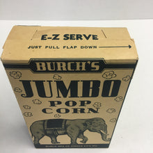 Load image into Gallery viewer, Old Burch's Jumbo ELEPHANT POP CORN Box, Vintage Kansas City