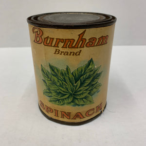 BURNAM Brand SPINACH Tin Can and Original Label, Fancy Quality || Packaging