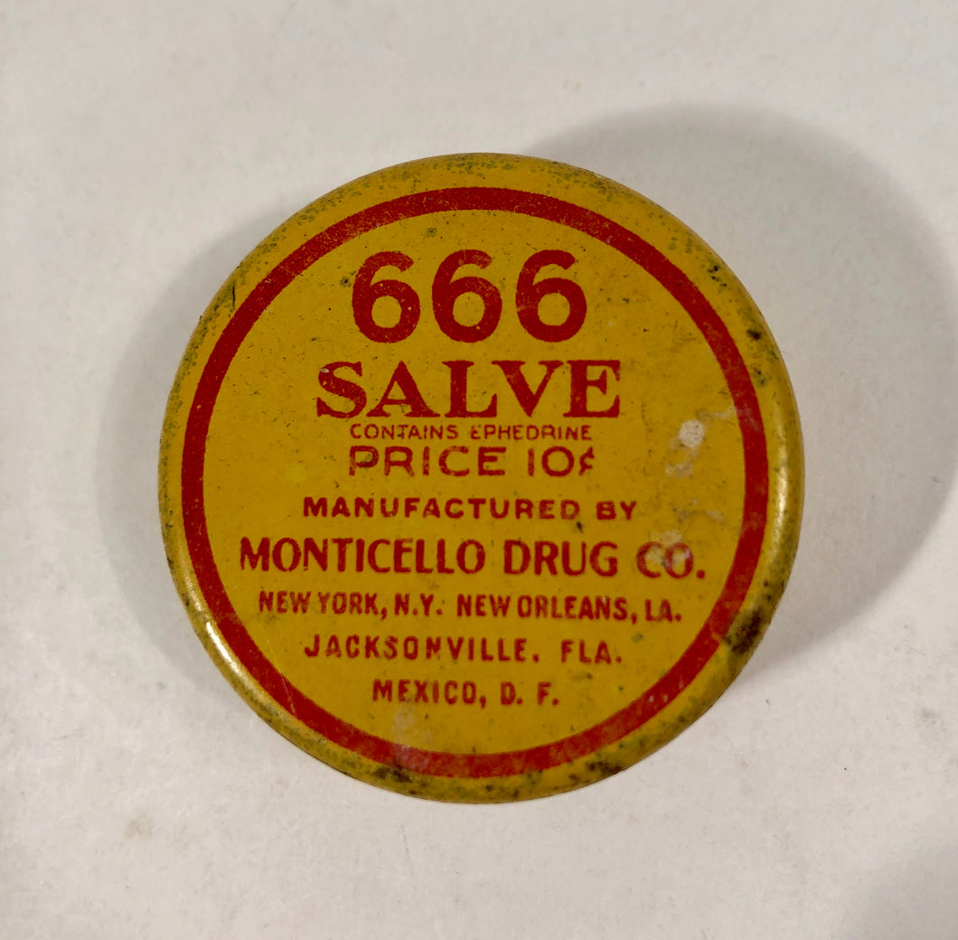 666 SALVE Tin, Monticello Drug Co. || New York, New Orleans, Jacksonville, Mexico