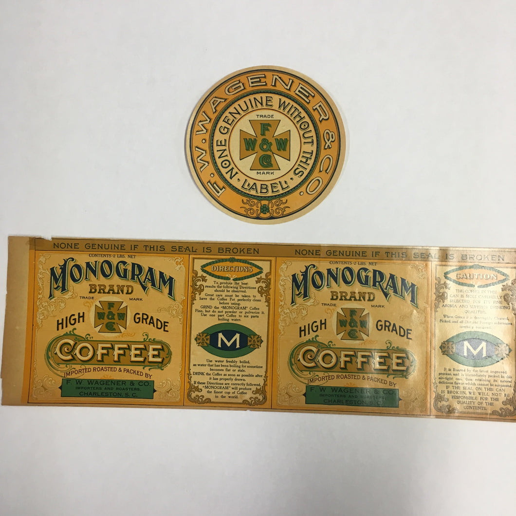 Set of Old MONOGRAM Brand High Grade COFFEE LABELS, F.W. Wagner, Roasters