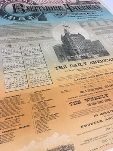 Rare Old Supplement BALTIMORE AMERICAN 1882 Calendar, Vintage