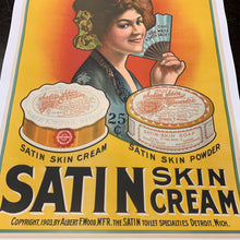 Load image into Gallery viewer, Old Rare SATIN SKIN POWDER Cream Poster, Mounted to Linen