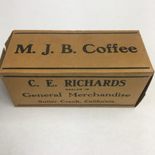 Load image into Gallery viewer, M.J.B COFFEE Box, Canned Goods || Kingan Ham & Bacon, Sutter Creek, California, C.E. Richards