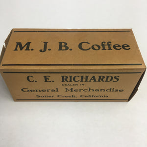 M.J.B COFFEE Box, Canned Goods || Kingan Ham & Bacon, Sutter Creek, California, C.E. Richards
