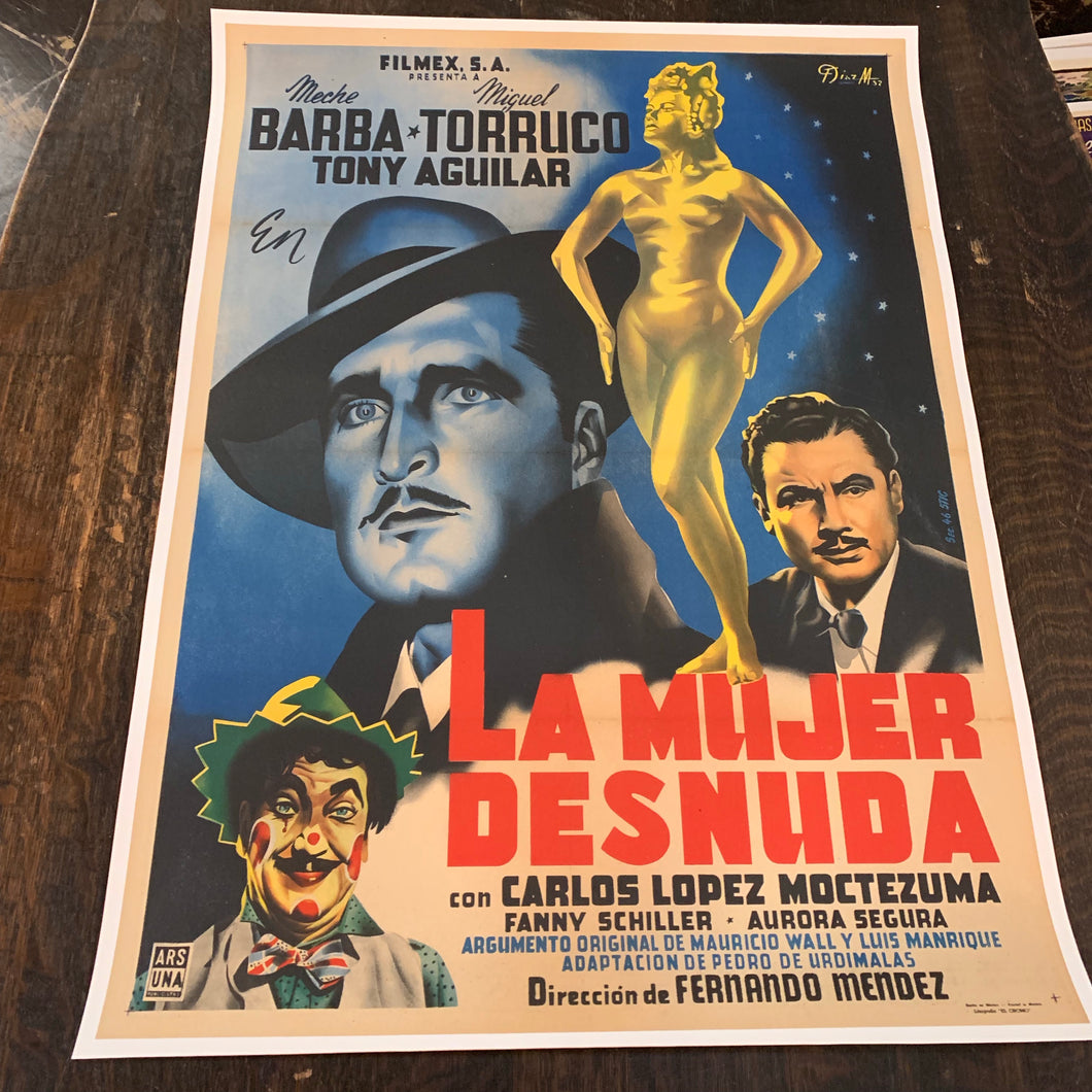 Old Mexican Movie Poster, La Mujer Desnuda, Mounted to Linen