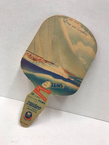 Vintage Tums / Nature's Remedy Fan from Bastiani Drug Co. in San Francisco, CA