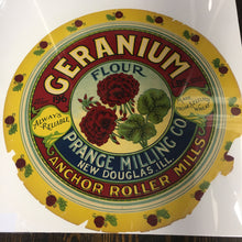 Load image into Gallery viewer, Old Vintage, GERANIUM Patent FLOUR Barrel Label, Anchor Roller Mills, Prance Milling Co. - TheBoxSF
