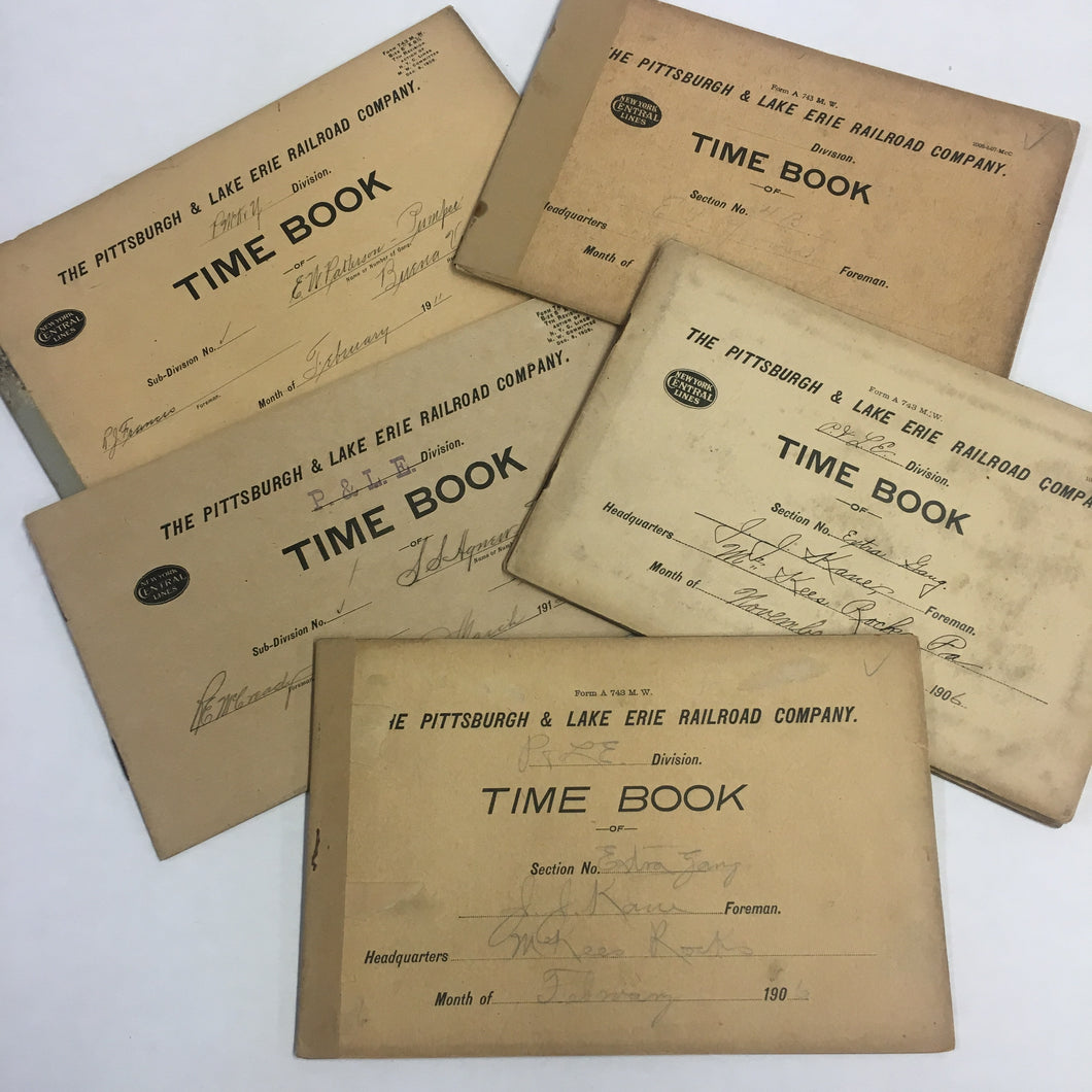 FIVE Early 20th century Railway Time Sheets