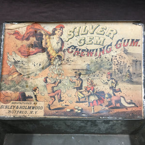 Old Vintage, Silver Gem CHEWING GUM Tin, Sibley & Holmwood - TheBoxSF