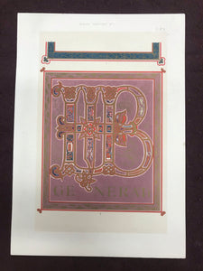 Beautiful Chromolithograph Book Plate Illuminated Letters About 100 Years Old - Plate Number 13