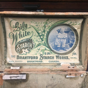 Old Vintage, Lily White Gloss STARCH BOX, Brantford Starch - TheBoxSF