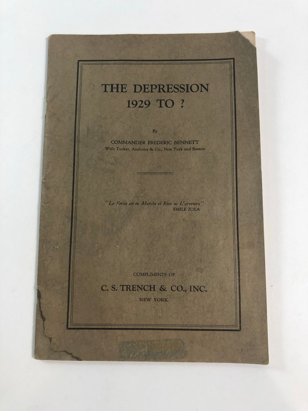 Front cover of 'The Depression 1929 to ?'