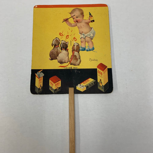 Vintage PROMOTIONAL FAN, Baby Singing with Dogs, 666 Liquid, Tablets, Salve