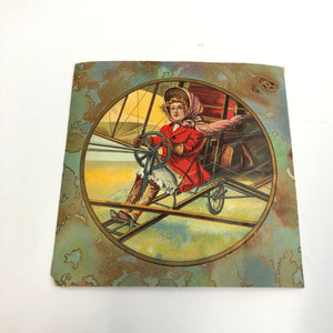 Edwardian Girl Piloting Airplane, Illustration, Scrap Piece || Early Aviation