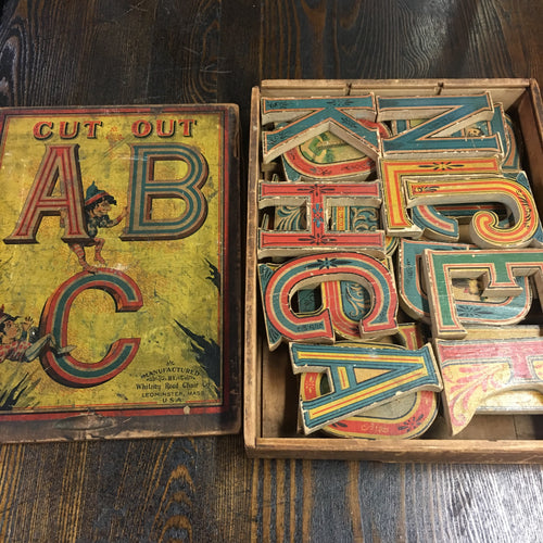 RARE Full ALPHABET, Cut Out ABC Game, Whitney Reed Chair Co. Old Vintage