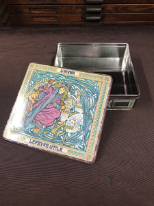 Beautiful Vintage Alphonse Mucha Style French Biscuit Box - TheBoxSF