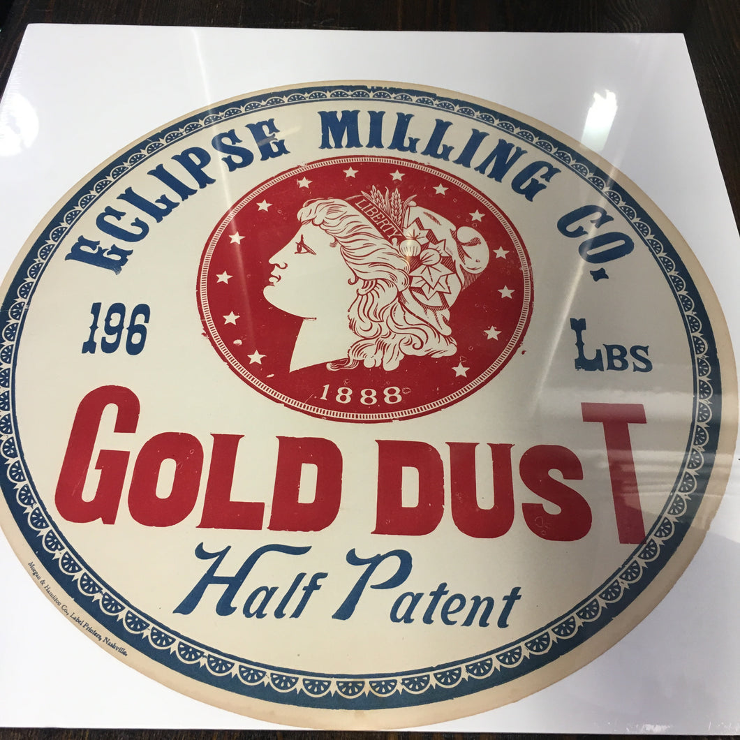 Old Vintage, GOLD DUST FLOUR Barrel Label, Eclipse Milling Co. 1888 - TheBoxSF