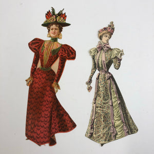 Two fashionable Victorian paper dolls