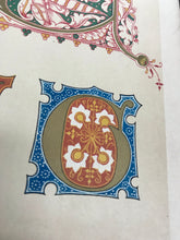 Load image into Gallery viewer, Beautiful Chromolithograph Book Plate Illuminated Letters About 150 Years Old - Plate Number 72