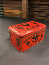 Load image into Gallery viewer, Rectangular Vintage Red Union Leader Cut Plug Tabacco Tin Package - TheBoxSF