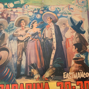 "Old Mexican Movie Poster, ""Carabina"" Linen Mounted"