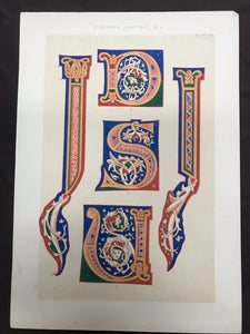 Beautiful Chromolithograph Book Plate Illuminated Letters About 100 Years Old - Plate Number 26