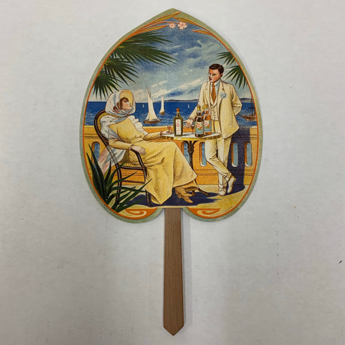 Edwardian French Advertising FAN, Man and Woman Drinking || Le Rhum Augustin