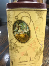 Load image into Gallery viewer, Beautiful Vintage Langlois Inc. Lavender Talcum Powder Tin Package - TheBoxSF