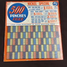 Load image into Gallery viewer, Vintage CIGARETTE PUNCH BOARD, 500 Punches Free, Nickel Special, Lottery
