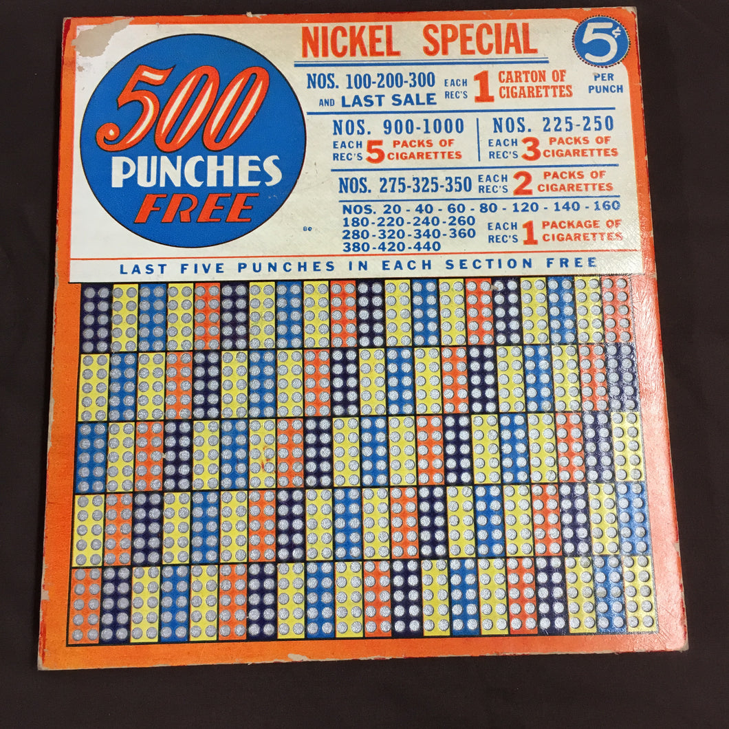 Vintage CIGARETTE PUNCH BOARD, 500 Punches Free, Nickel Special, Lottery