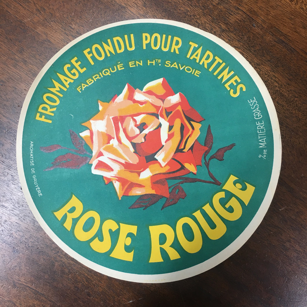Old Fromage Fondu Pour Tartines (processed CHEESE for toast) LABEL | Red Rose - TheBoxSF