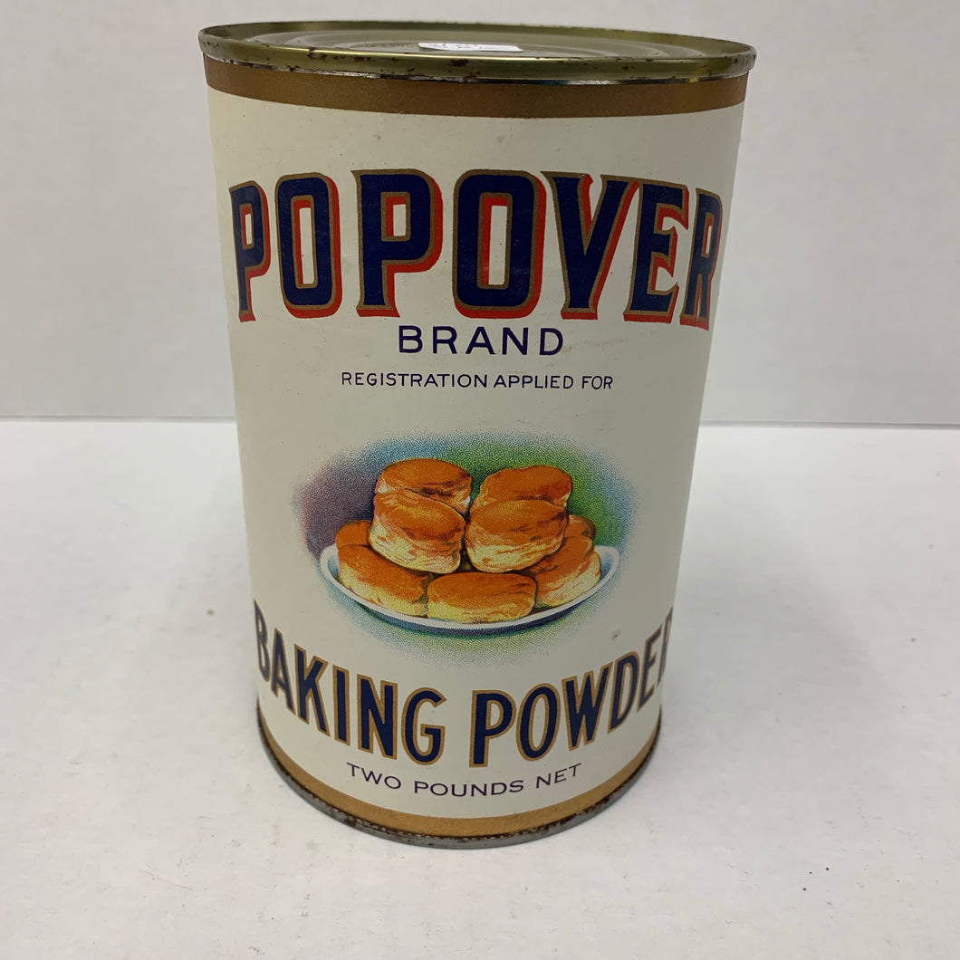 Old POPOVER Brand Baking Powder Tin, Packaging