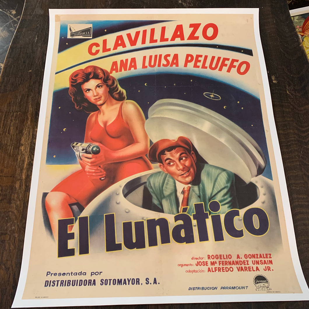 Old Mexican Movie Poster, El Lunatico, Sci Fi, Linen Mounted