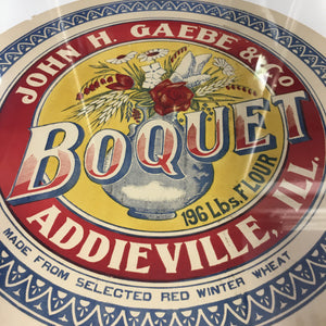 Old Vintage, BOQUET FLOUR Barrel Label, John H. Gaebe & Co., Addieville - TheBoxSF