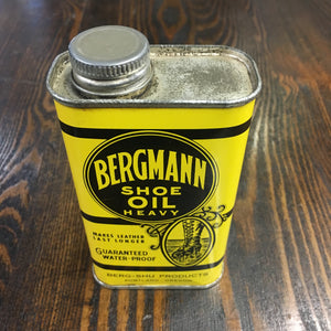 Old, Bergman SHOE OIL Tin, Leather, Contains Oil - TheBoxSF