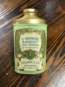 Vintage Cashmere Bouquet Talcom Powder Tin Container - TheBoxSF